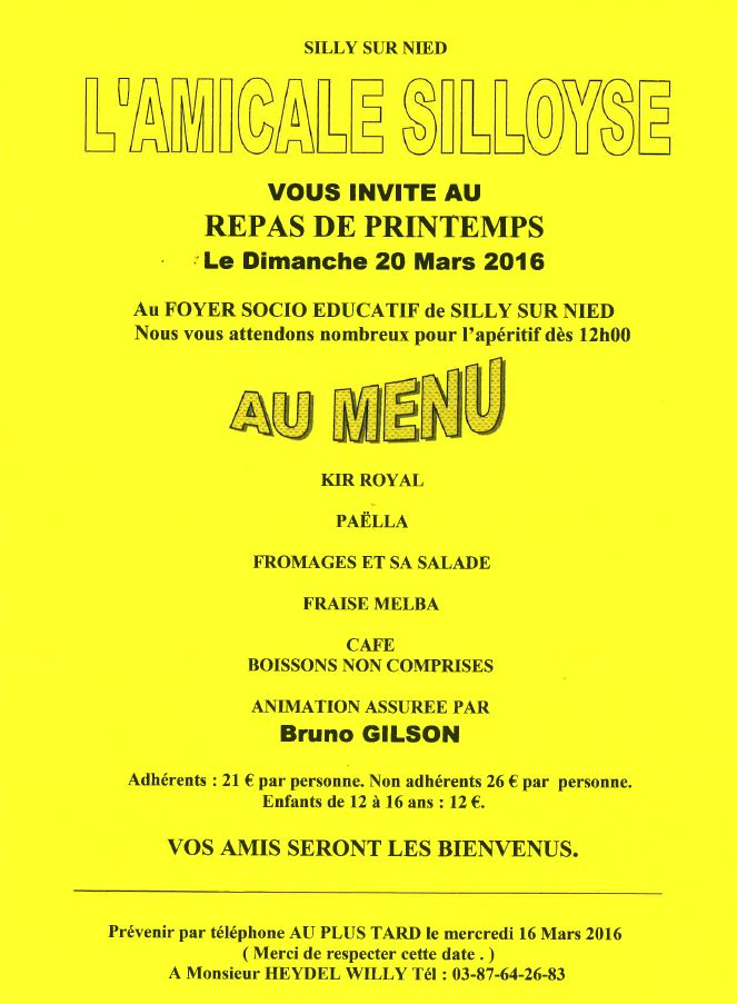 Amicale Silloyse Repas printemps 2016