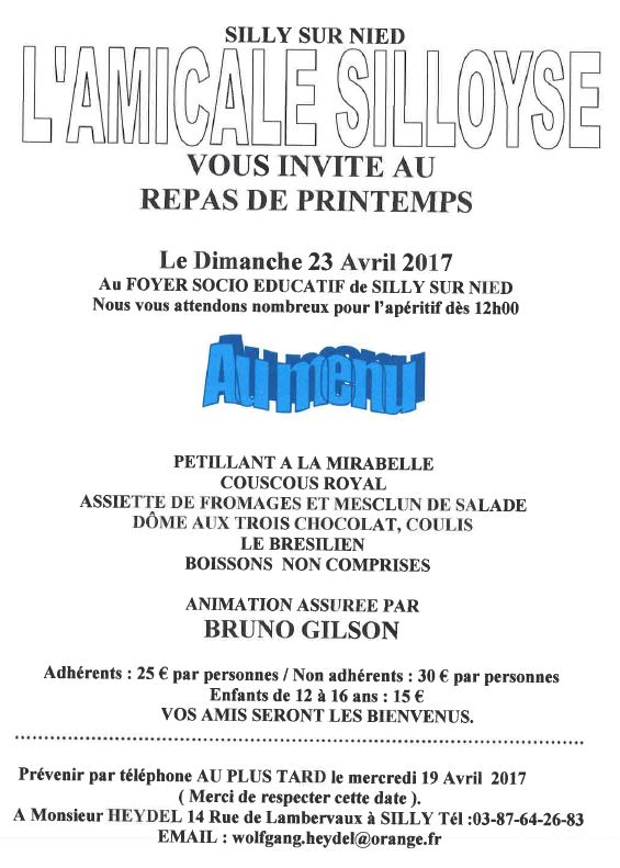 Amicale Silloyse Repas printemps 2017