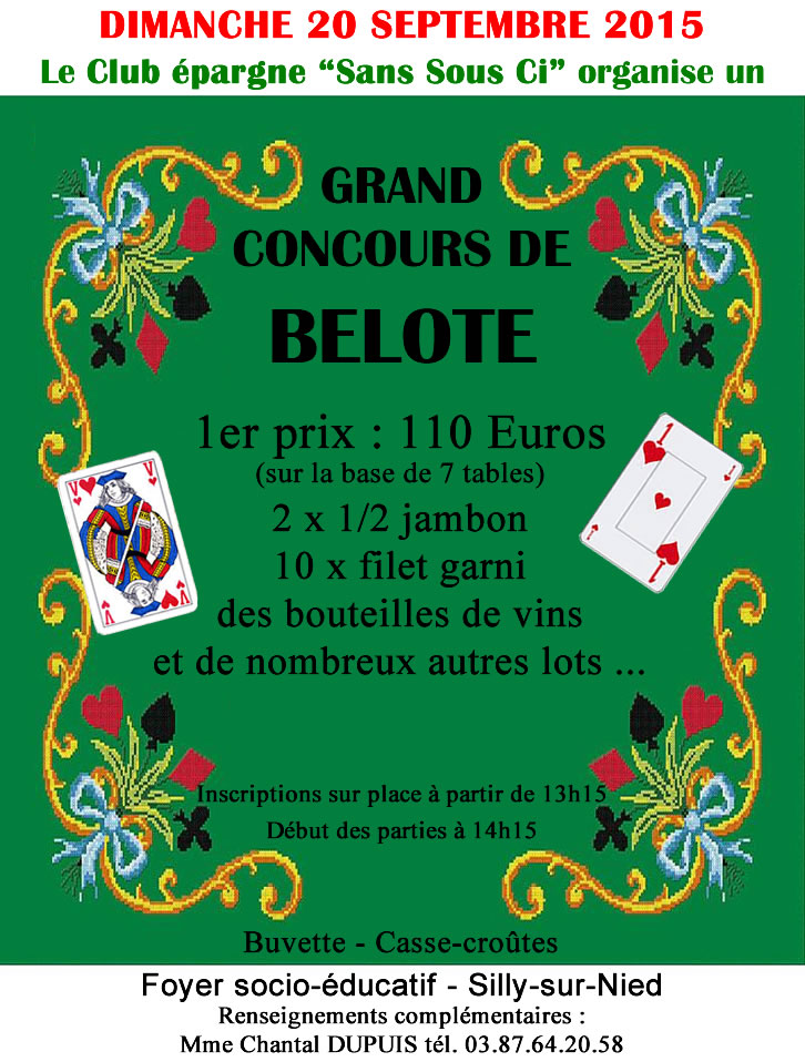 Club sans sou ci belote septembre 2015
