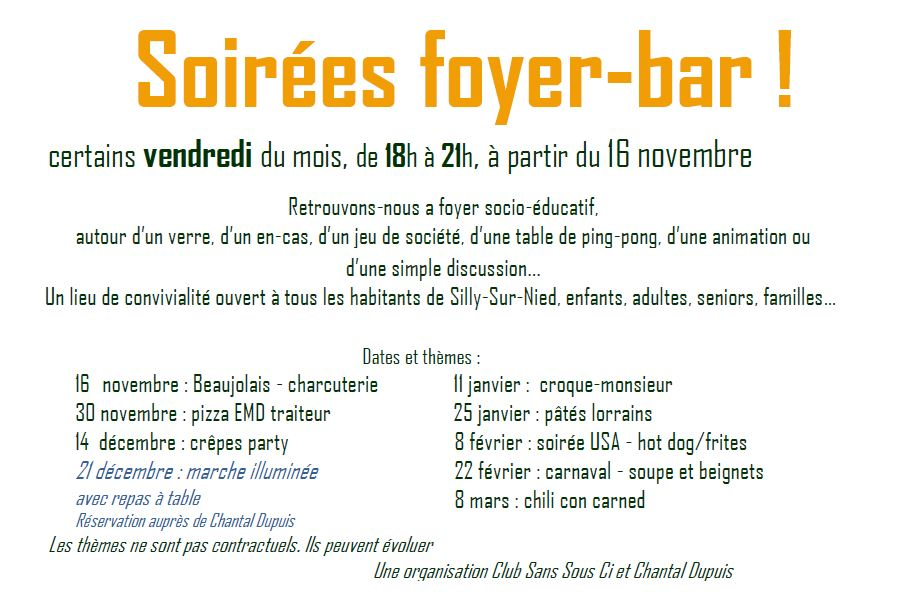 Club sans sou ci foyer bar 2018 2019